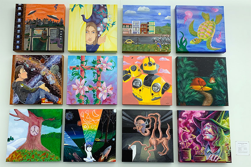 Work by teen artists Cassie R., Conner, R. Eliot M., Harley B., Katie T., Madeline P., Megan M., Rozalind S., and Samantha M.